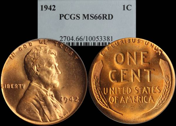 1942 P Lincoln Cent PCGS MS66 RED 10053381