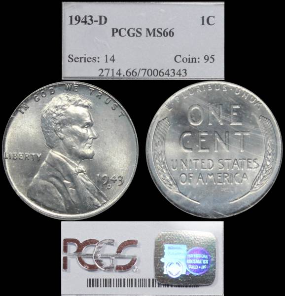 1943 D Lincoln Cent Steel PCGS MS66