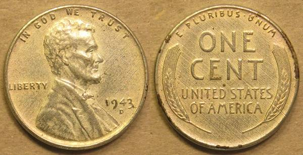 1943 D Lincoln Steel Cent XF40