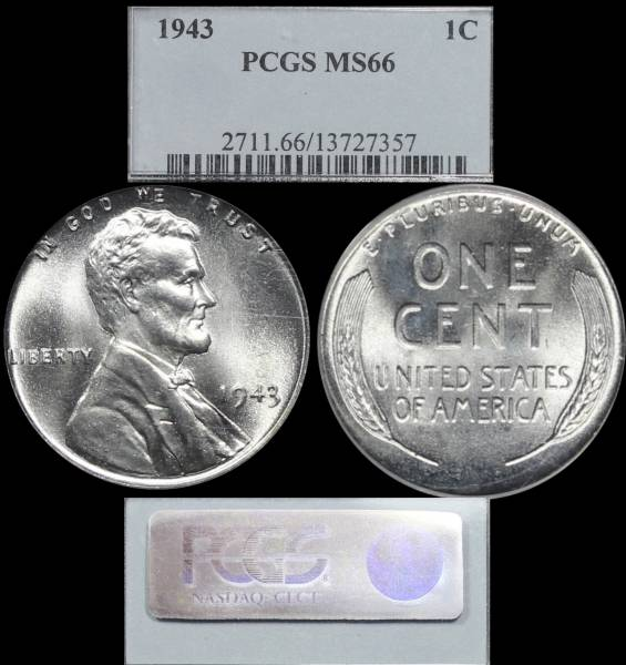1943 P Lincoln Cent Steel PCGS MS66 13727357