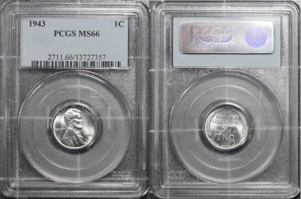 1943 P Lincoln Cent Steel slab PCGS MS66 13727357