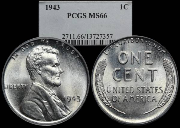 1943 P Lincoln Steel Cent PCGS MS66