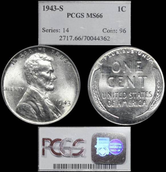 1943 S Lincoln Cent Steel PCGS MS66 70044362