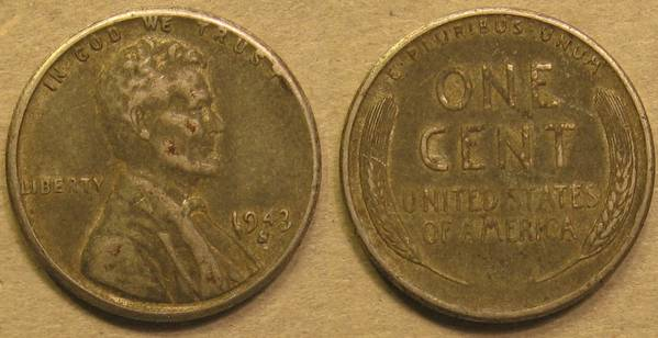 1943 S Lincoln Steel Cent F12