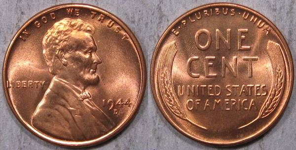 1944 D Lincoln Cent GEM BU RED