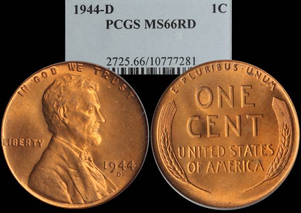 1944 D Lincoln Cent PCGS MS66 RED 10777281