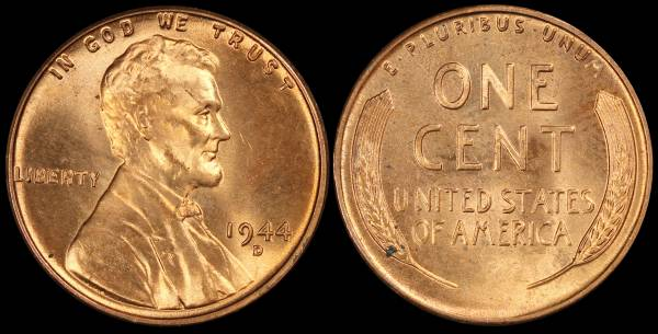 1944 D Lincoln Wheat Cent Uncirculated RED Coin 10