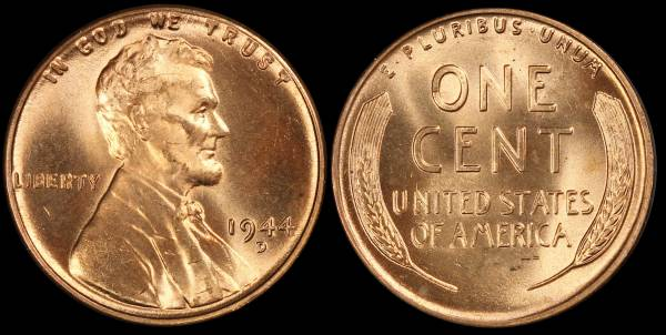 1944 D Lincoln Wheat Cent Uncirculated RED Coin 11