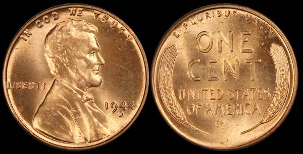 1944 D Lincoln Wheat Cent Uncirculated RED Coin 3