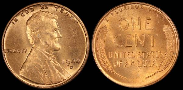 1944 D Lincoln Wheat Cent Uncirculated RED Coin 4