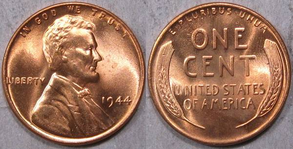1944 P Lincoln Cent GEM BU RED