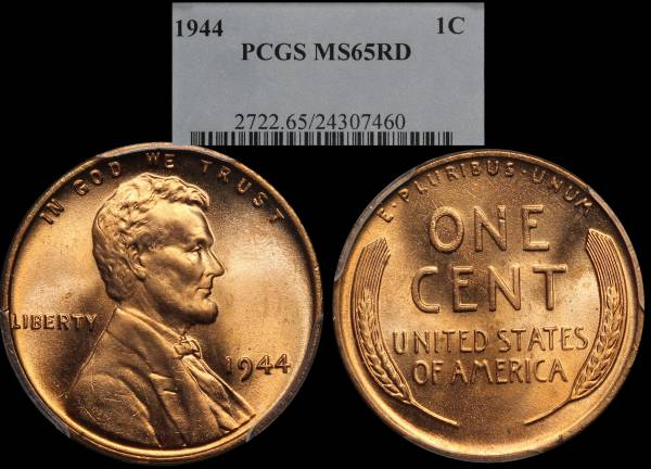 1944 P Lincoln Cent PCGS MS65 RED