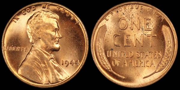 1944 P Lincoln Wheat Cent Uncirculated RED Coin 4