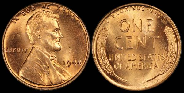 1944 P Lincoln Wheat Cent Uncirculated RED Coin 5