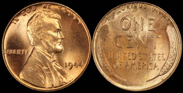 1944 P Lincoln Wheat Cent Uncirculated RED Coin 7 bad reverse