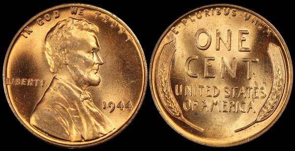 1944 P Lincoln Wheat Cent Uncirculated RED Coin 8