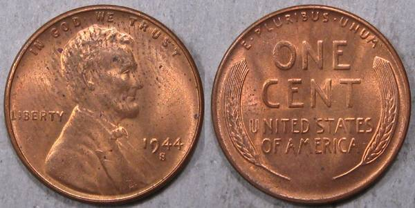 1944 S Lincoln Cent BU RED with fingerprint