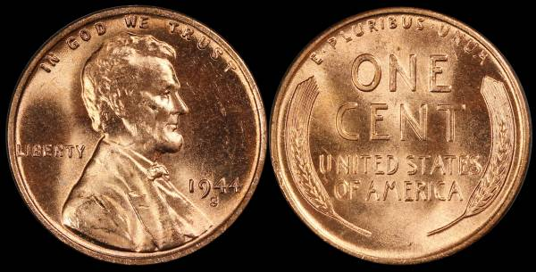 1944 S Lincoln Wheat Cent Uncirculated RED Coin 1