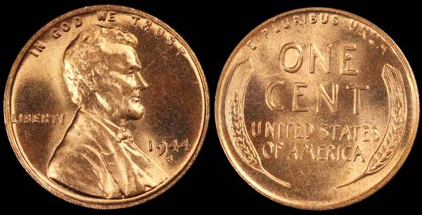 1944 S Lincoln Wheat Cent Uncirculated RED Coin 7