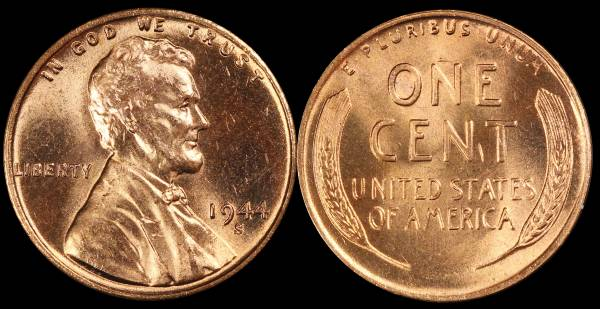 1944 S Lincoln Wheat Cent Uncirculated RED Coin 9