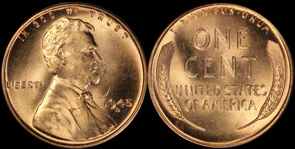 1945 D Lincoln Cent RED BU Uncirculated Coin 2