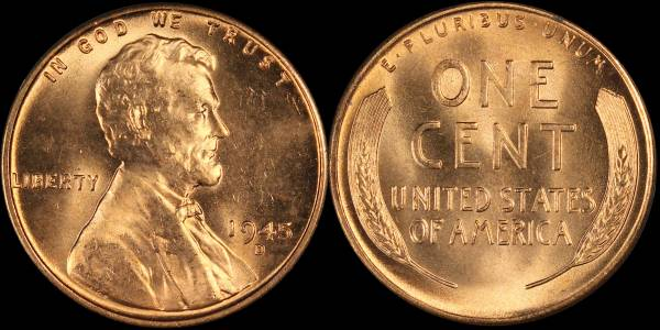 1945 D Lincoln Cent RED BU Uncirculated Coin 4