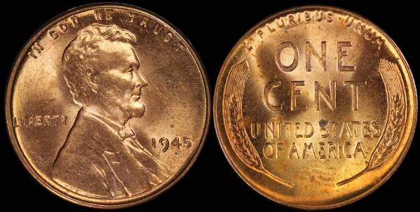 1945 P Lincoln Cent roll RED BU Uncirculated Coin 1