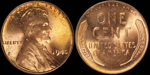 1945 P Lincoln Cent roll RED BU Uncirculated Coin 2