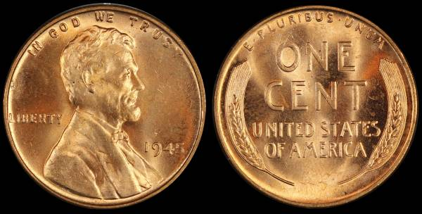 1945 P Lincoln Wheat Cent Uncirculated Coin 2 RED