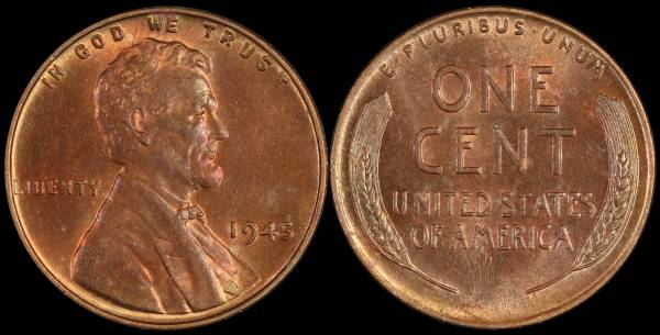 1945 P Lincoln Wheat Cent Uncirculated Coin 4 RED Brown