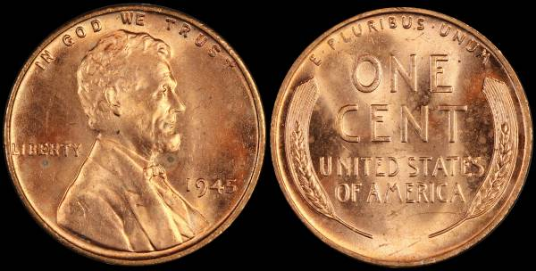 1945 P Lincoln Wheat Cent Uncirculated Coin 5 RED