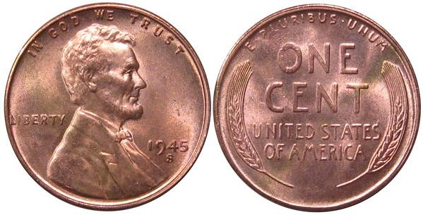 1945 S Lincoln Cent GEM BU RED