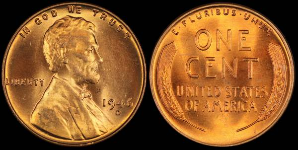 1946 D Lincoln Cent coin 2 BU Uncirculated