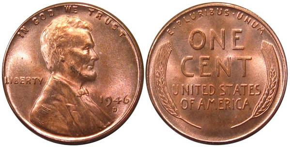 1946 D Lincoln Cent GEM BU RED