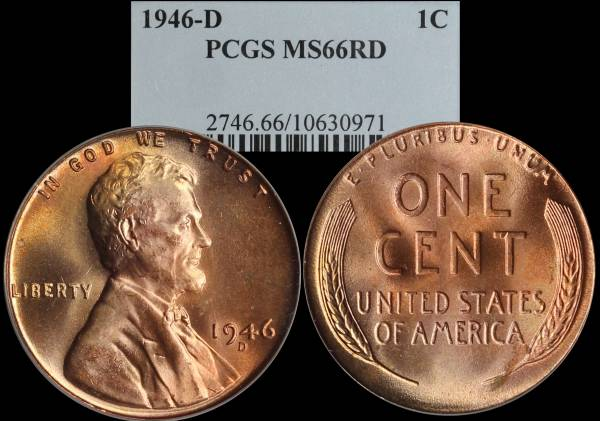 1946 D Lincoln Cent PCGS MS66 RED 10630971