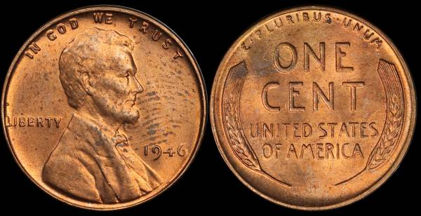 1946 P Lincoln Cent BU Uncirculated 3 fingerprint