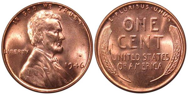 1946 P Lincoln Cent Choice BU RED