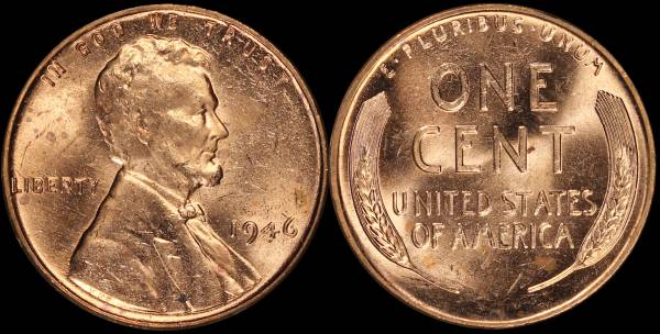 1946 P Lincoln Cent roll RED BU Uncirculated Coin 3