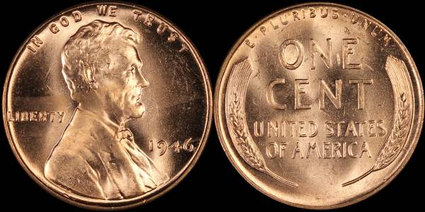 1946 P Lincoln Cent roll RED BU Uncirculated Coin 4