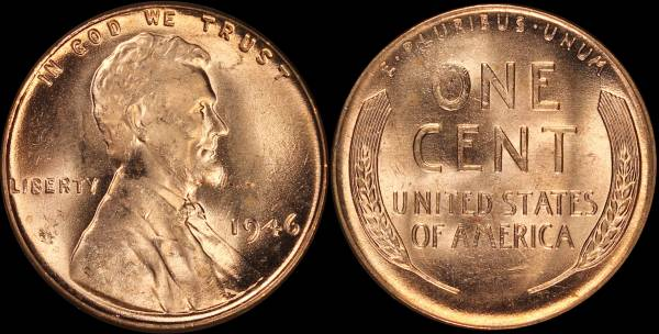 1946 P Lincoln Cent roll RED BU Uncirculated Coin 5