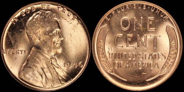 1946 P Lincoln Cent roll RED BU Uncirculated Coin 6
