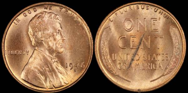 1946 S Lincoln Cent Coin 1 RED Uncirculated