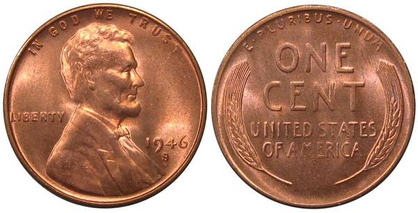 1946 S Lincoln Cent GEM BU RED