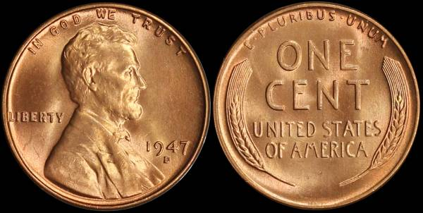 1947 D Lincoln Cent Uncirculated RED Coin 2