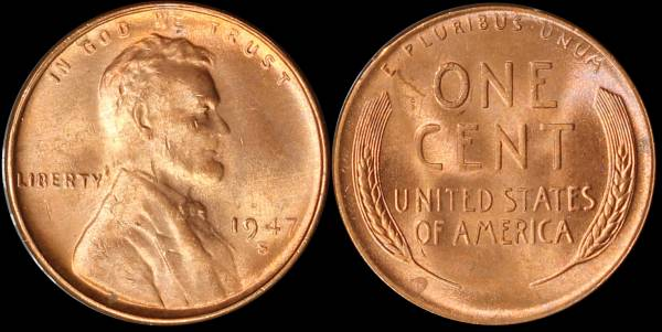 1947 S Lincoln Cent Uncirculated RED Coin 3