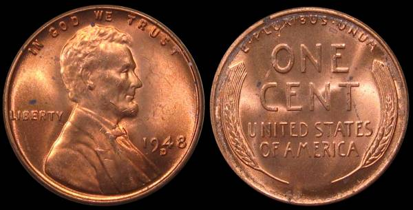 1948 D Lincoln Cent Mint State RED