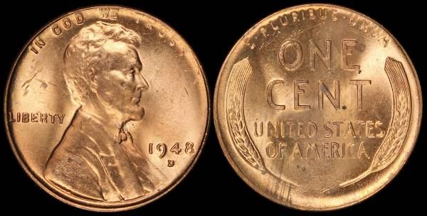 1948 D Lincoln Wheat Cent Uncirculated Coin 1 RED
