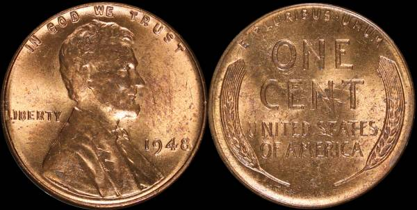 1948 P Lincoln Cent RED BU Uncirculated Coin 1