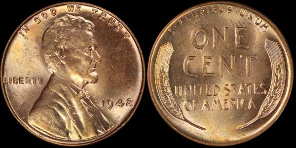 1948 P Lincoln Cent RED BU Uncirculated Coin 2