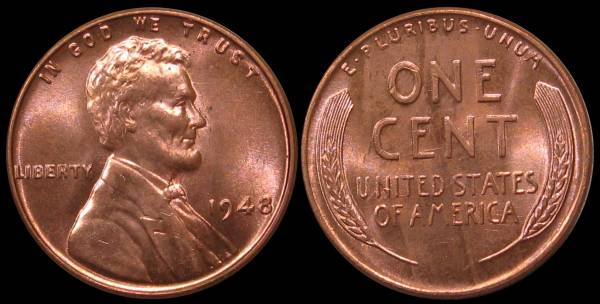 1948 P Lincoln Cent UNC RED